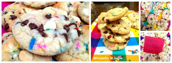 Cake Batter Sprinkle Choco-Chip Cookies -- Pocketful of Sugar