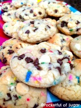 Cake Batter Sprinkle Choco-Chip Cookies