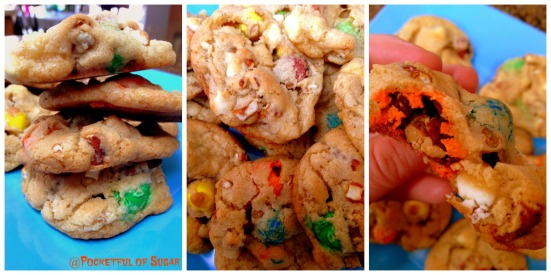 Loaded Pretzel Monster Cookies - Pocketful of Sugar