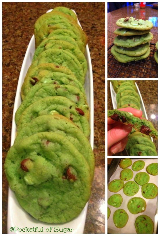Mint Chocolate Chip Cookies -- Pocketful of Sugar